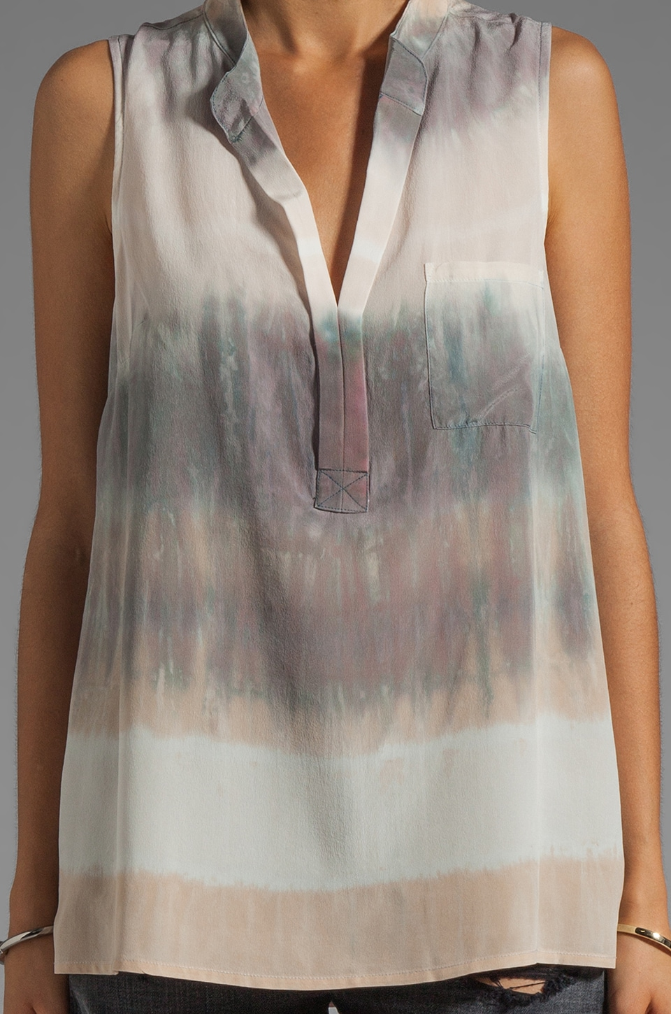 Gypsy 05 Hampton Silk S/L Placket Top in Oyster