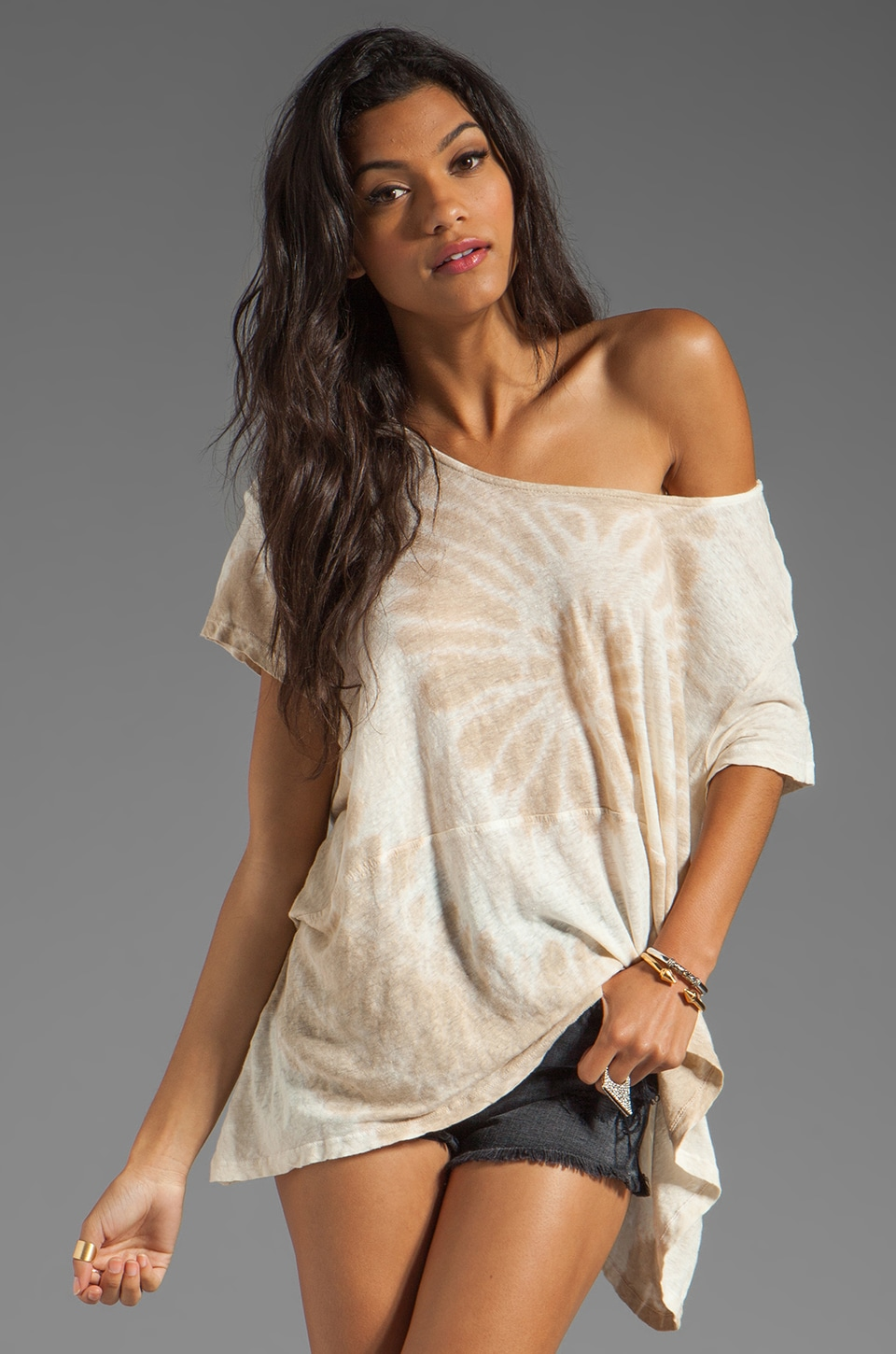 Gypsy 05 Wynne Slub Knit S/S Square Top in Desert