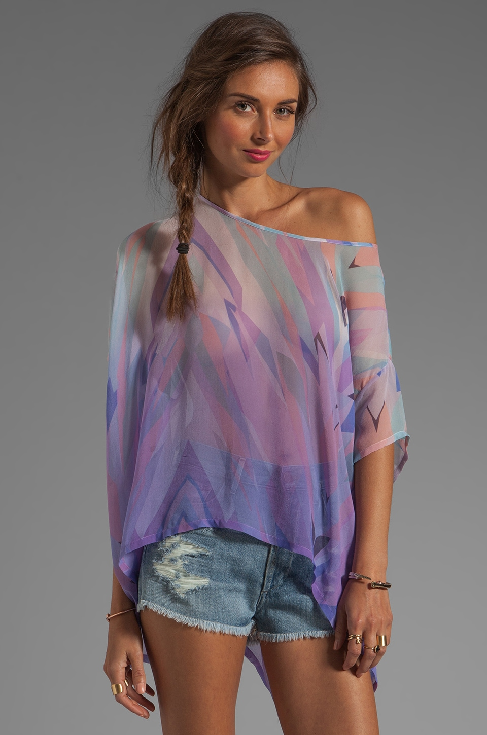 Gypsy 05 Prim Geo Print S/S Square Blouse in Orchid