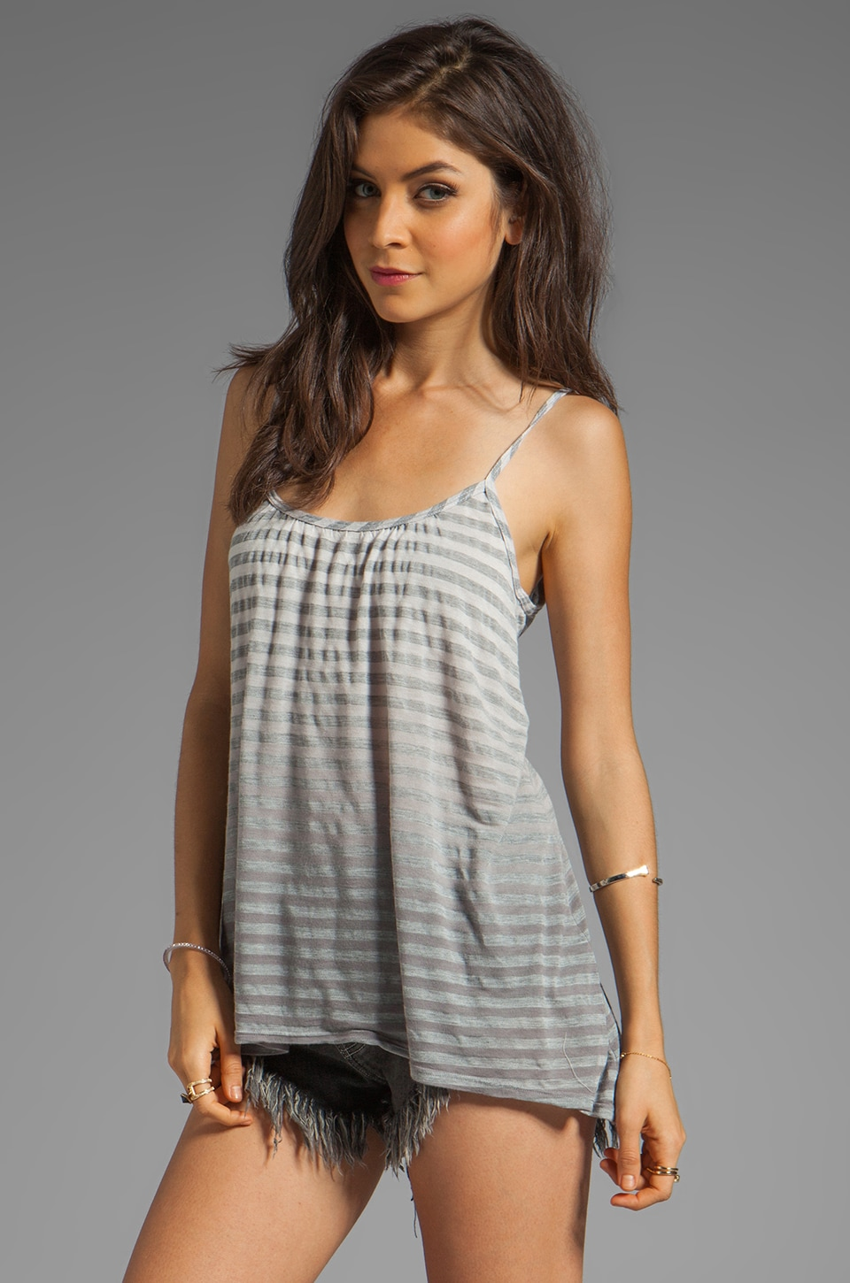 Gypsy 05 Cabarete Jersey Stripe Simple Cami in Graphite