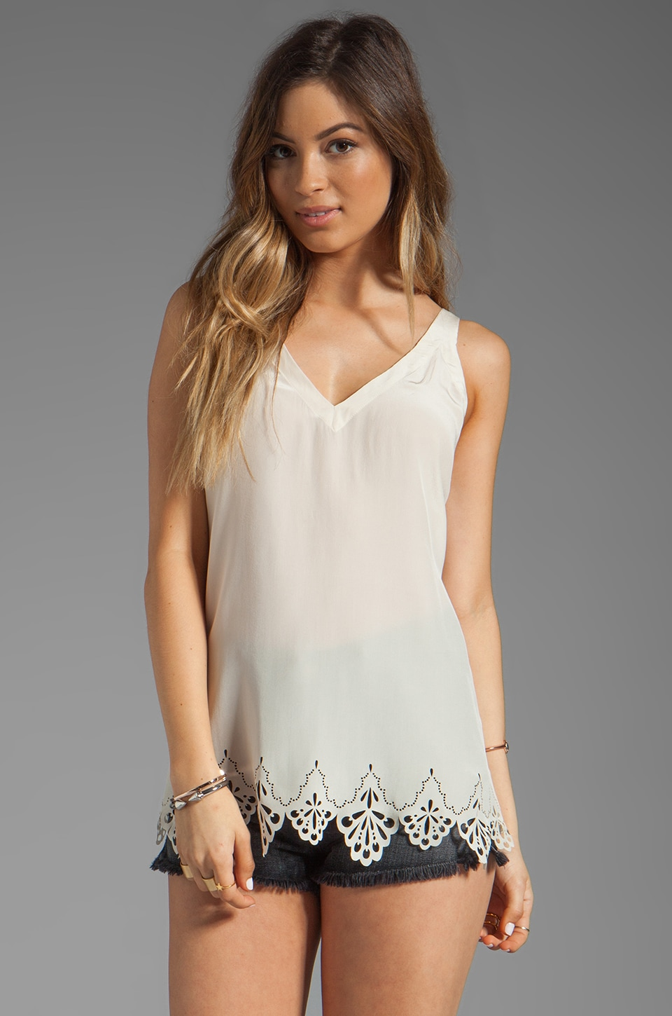 Gypsy 05 Punta Cana Laser Cut Silk Cami in Moonbeam