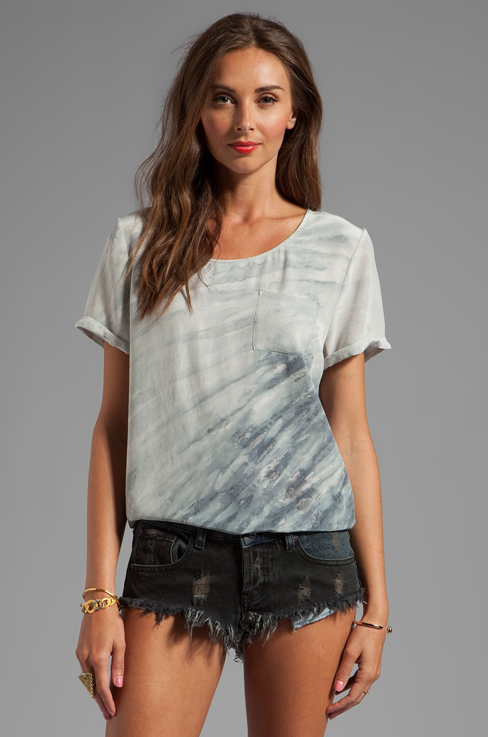 Gypsy 05 Calvi Mixed Silk Short Sleeve Top With Pocket in Malibu Dusk