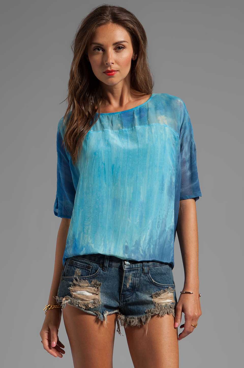 Gypsy 05 Clavi Mixed Oversized Square Top in Pacific Surf