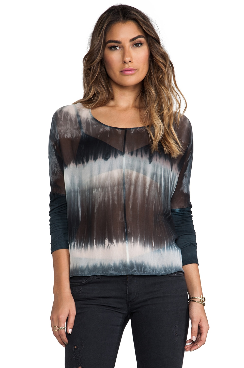 Gypsy 05 Klimt Mixed Silk Oversized Top in Smoke