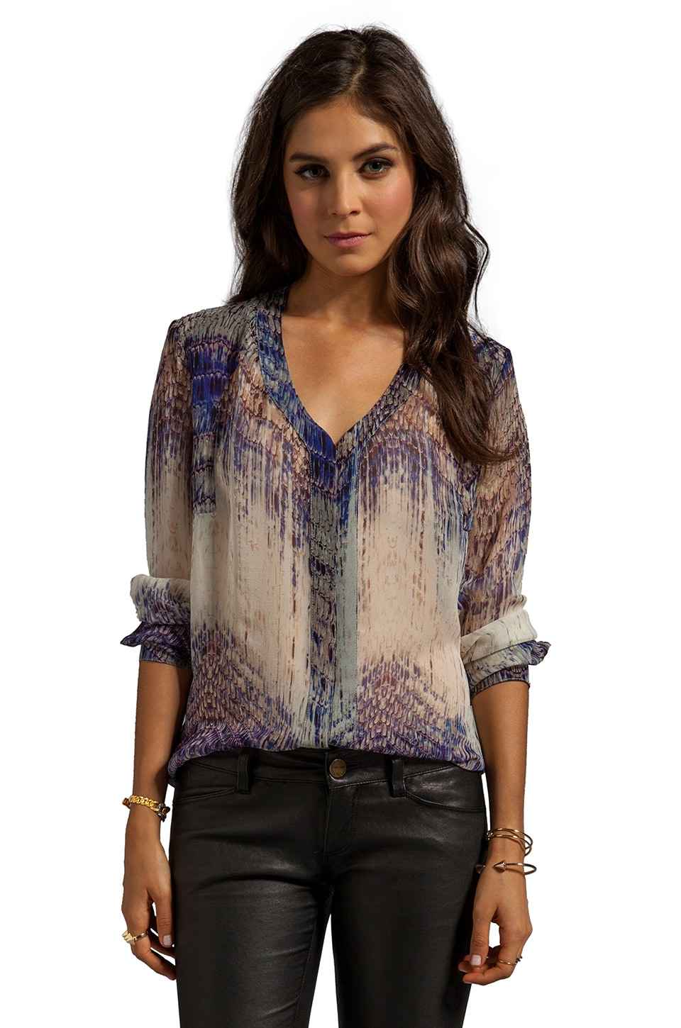 Gypsy 05 Annunaki Long Sleeve Button Down Shirt in Violet