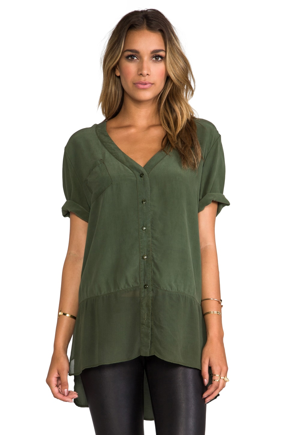 Gypsy 05 Mixed Silk Button Down Top in Moss