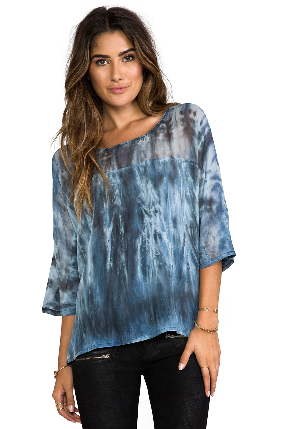 Gypsy 05 Mixed Silk Oversize Top in Charcoal