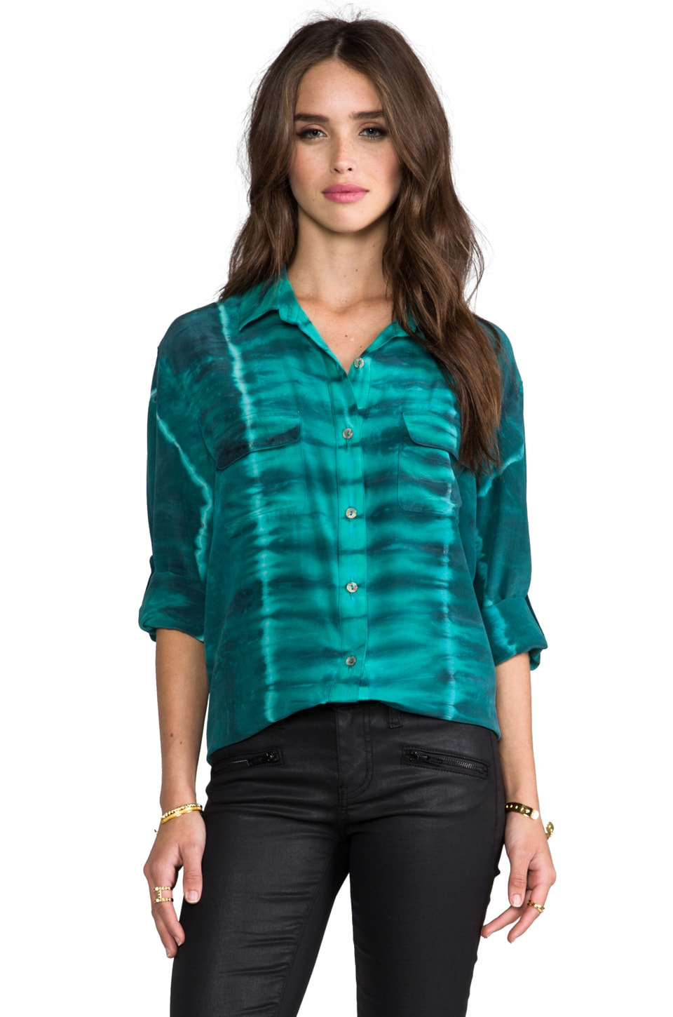 Gypsy 05 Silk Button Down with Pockets en Bleu canard