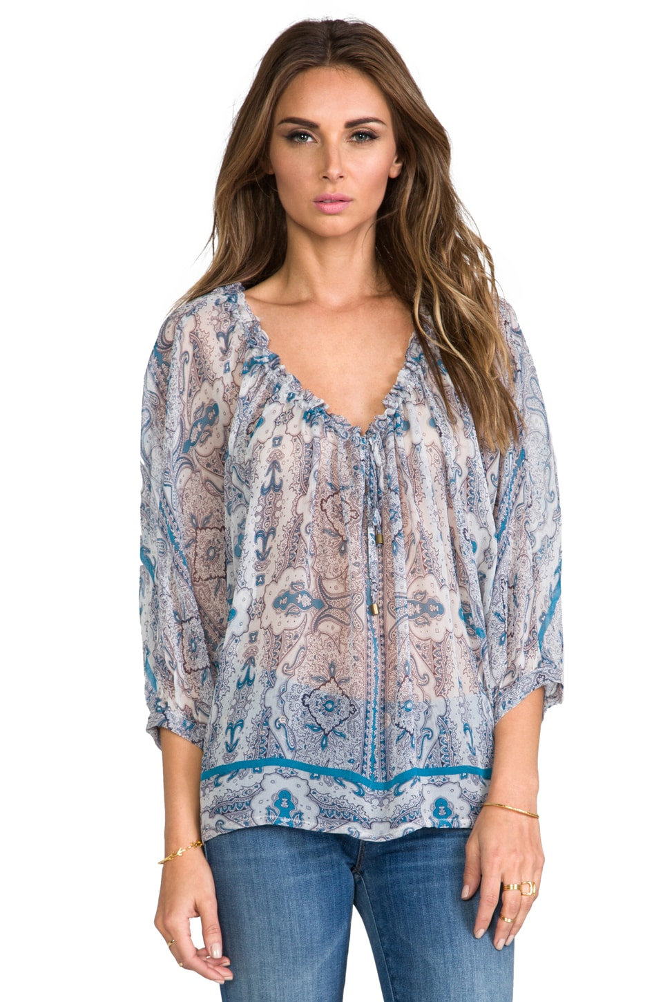 Gypsy 05 Printed Peasant Top in Teal
