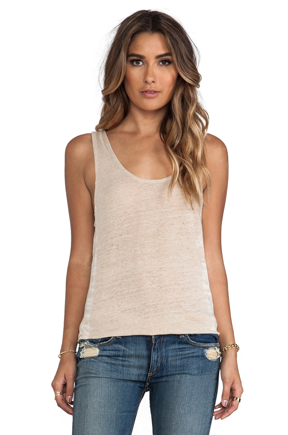 Gypsy 05 Deep U-Neck Tank in Bone