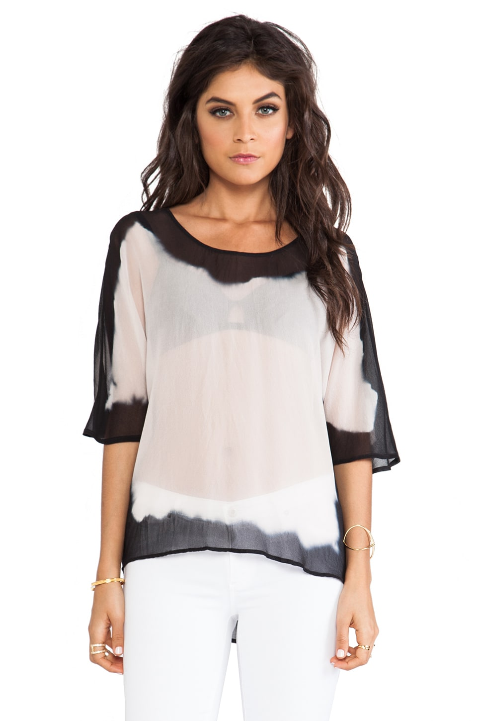 Gypsy 05 Mixed Silk Easy Top in Cream & Black