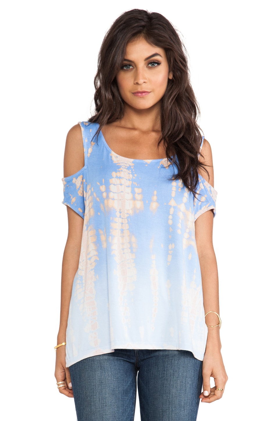 Gypsy 05 Cold Shoulder Top in Blue Bell