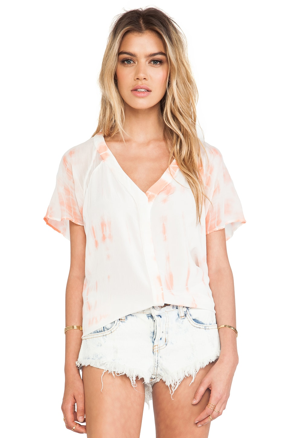 Gypsy 05 Cairo Hidden Placket Top in Salmon