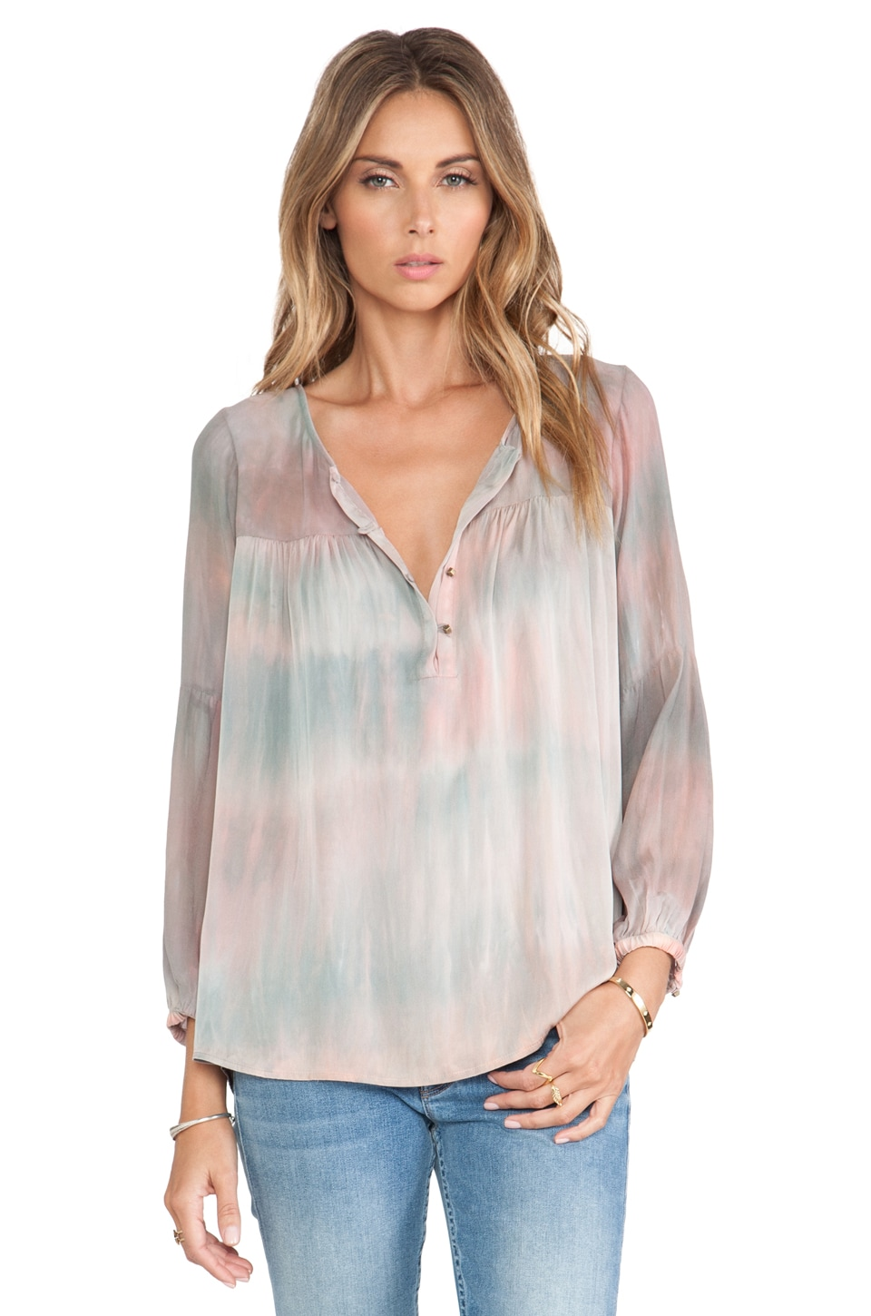 Gypsy 05 Pique-Assiette Peasant Blouse in Fog