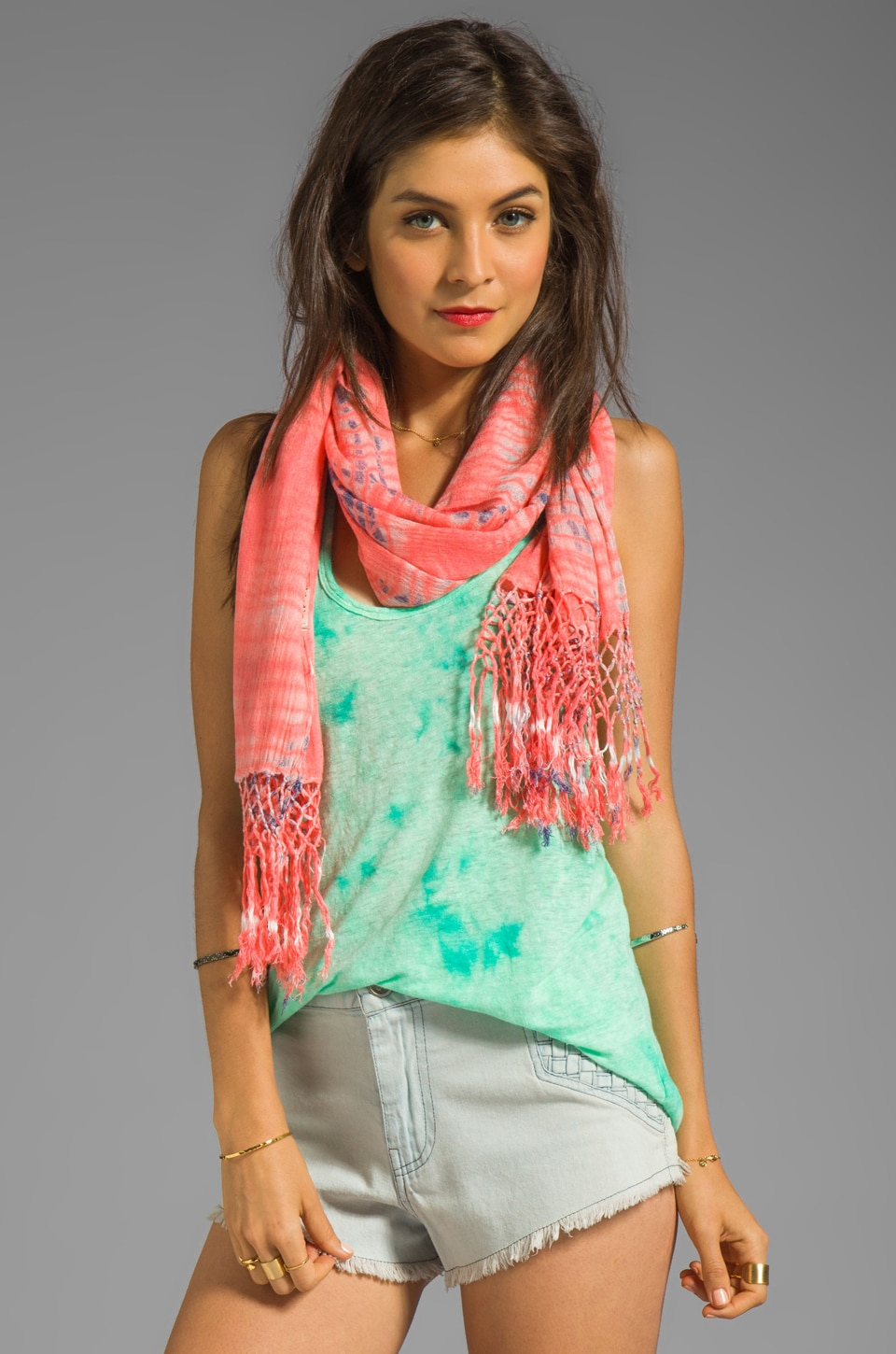 Gypsy 05 Alligator Vat Dye Scarf in Salmon