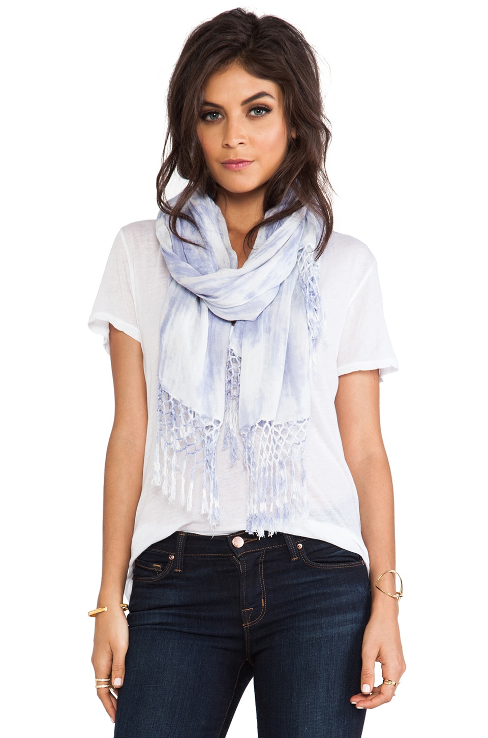 Gypsy 05 3 Color Mix Fringe Scarf in Multi Lavender