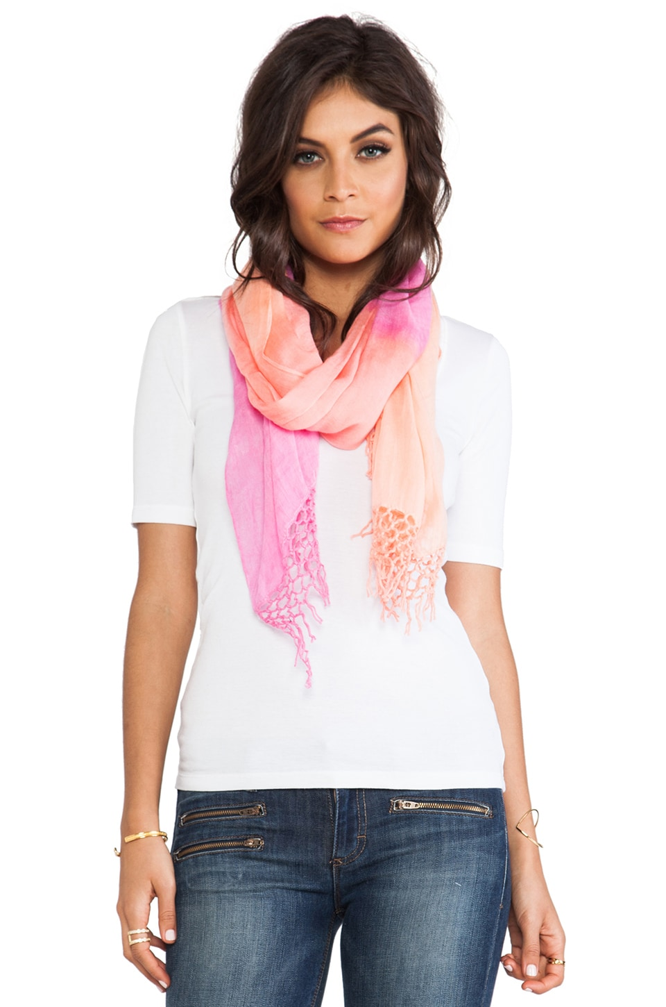 Gypsy 05 3 Color Dip Dye Horizon Fringe Scarf in Coral Combo