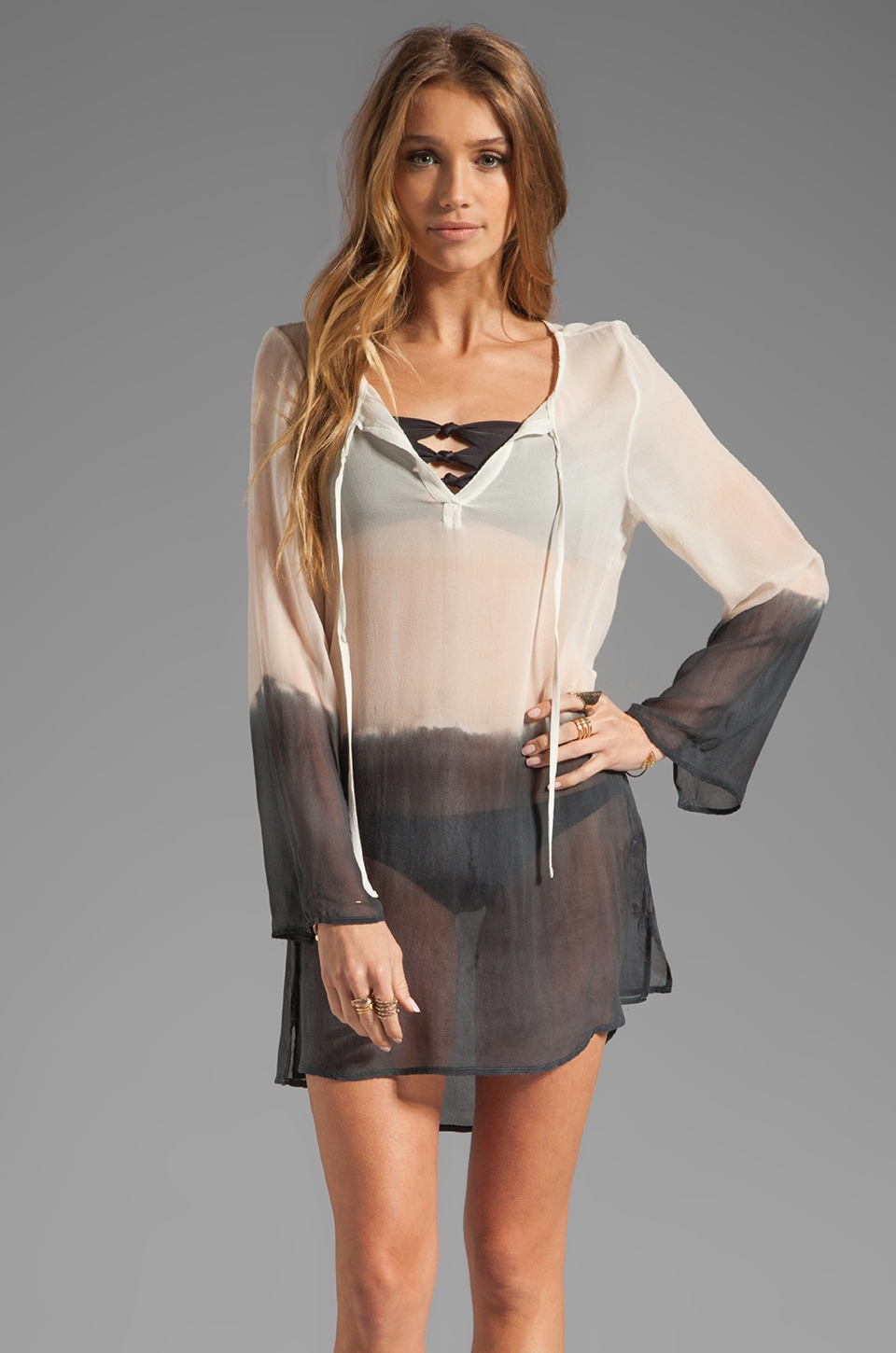 Gypsy 05 Silk Tie Front Tunic Cover Up in Cement