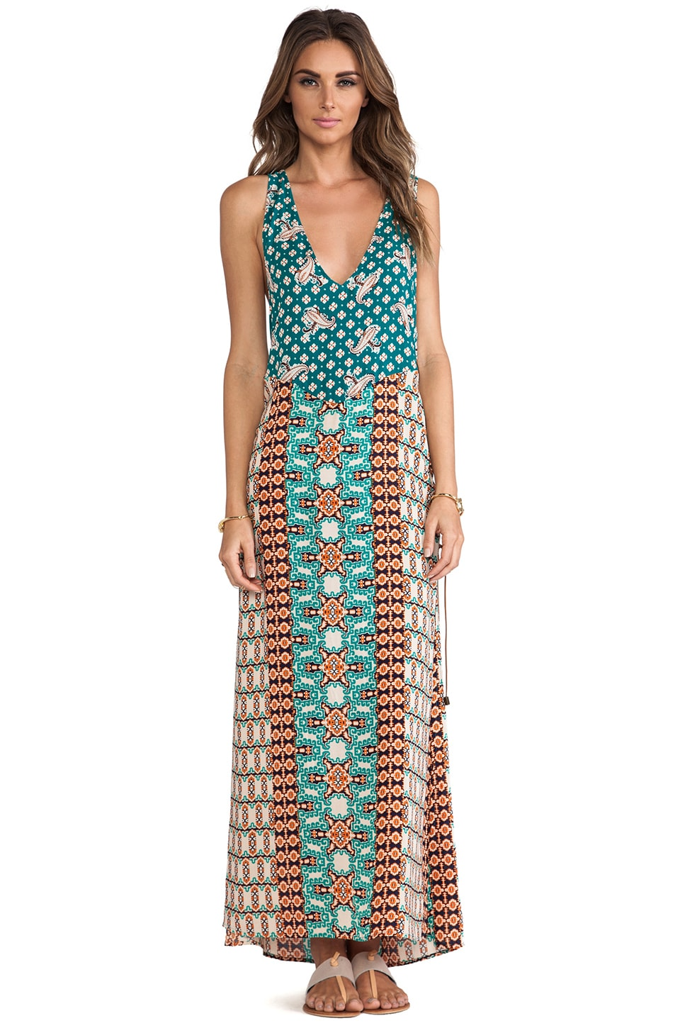 Gypsy 05 Braided Side Maxi Dress in Mandarin