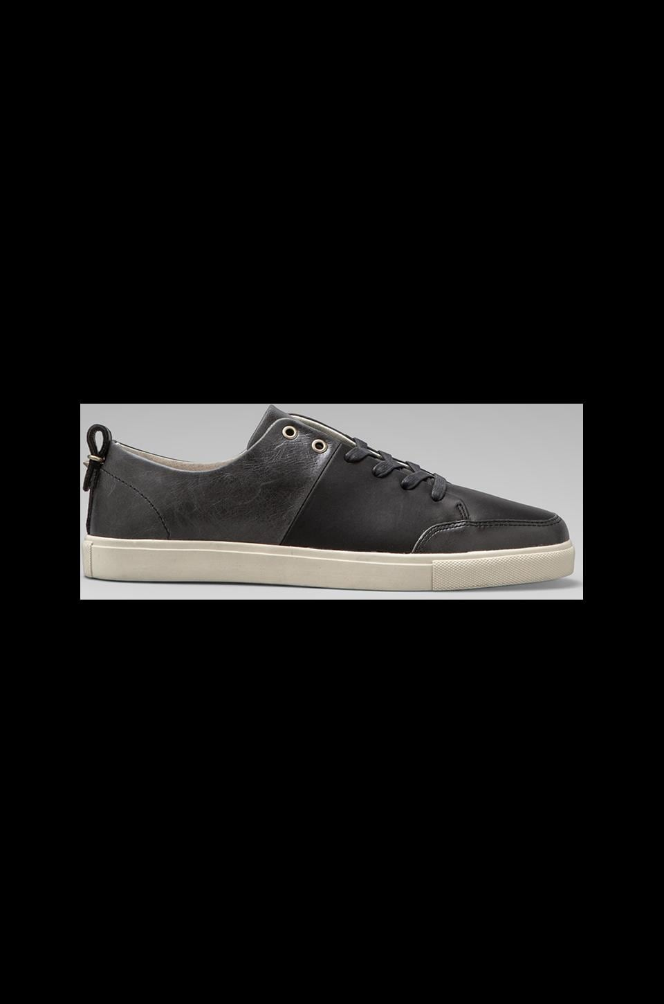 Haerfest Leather Trainers in Matte Black/ Marbelized Black