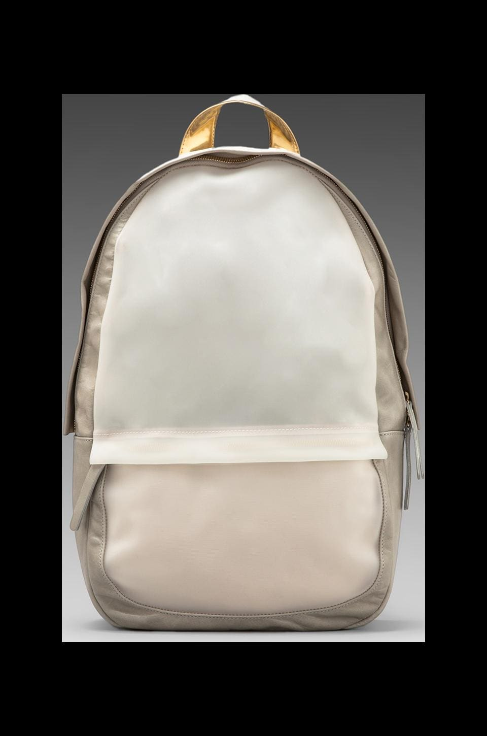 Haerfest Shell Backpack in Stone/ Gold/ White