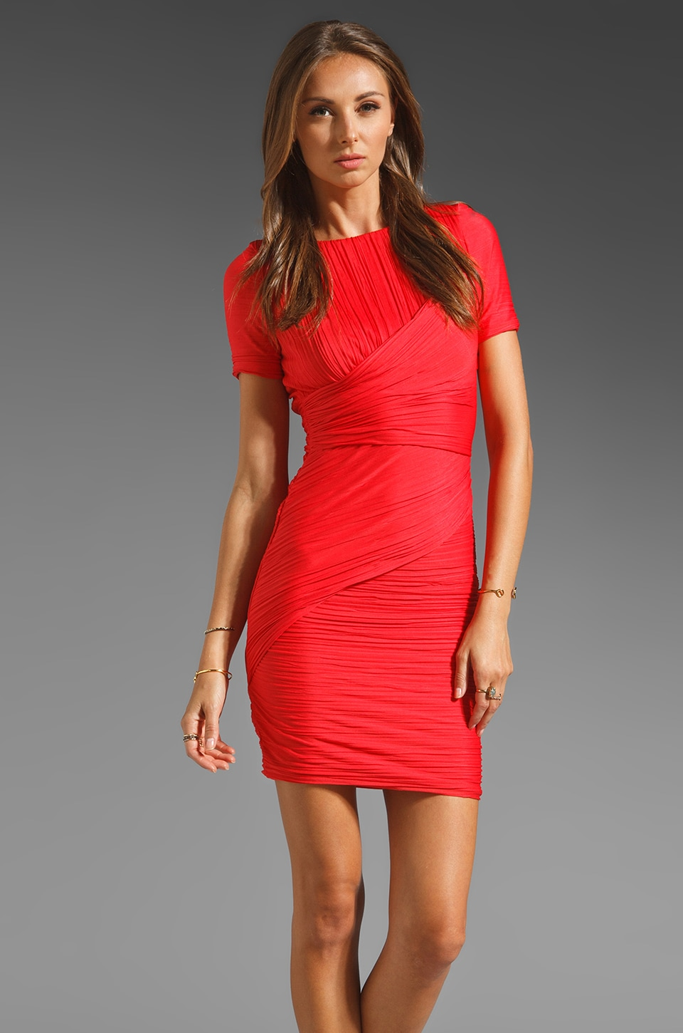Halston Heritage Short Sleeve All Over Pleat Fitted Dress in Vermillion