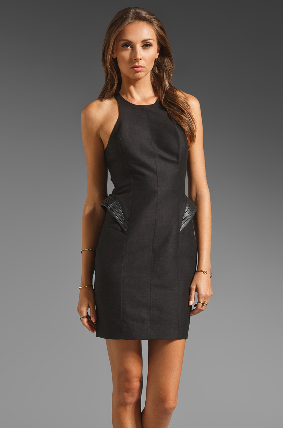 Halston Heritage Racerback Silk Cotton Faille Fitted Dress w/ Leather Detail at Hip in Black