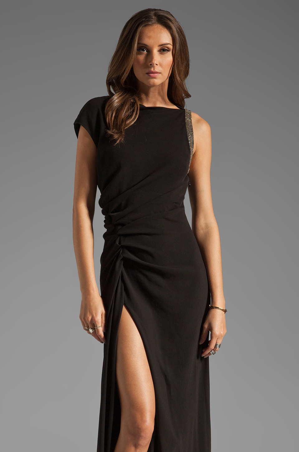 Halston Heritage Ruched Side Waist Gown with Leg Slit and Arm Embellishment in Black