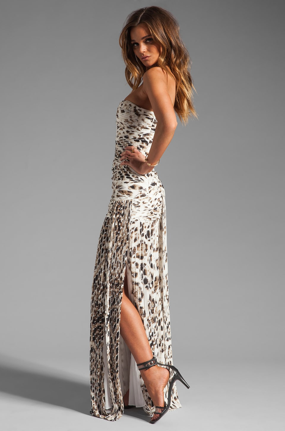 Halston Heritage Strapless Pleated Gown with Slit and Hip Embellishment in Flint Feathered Mesh
