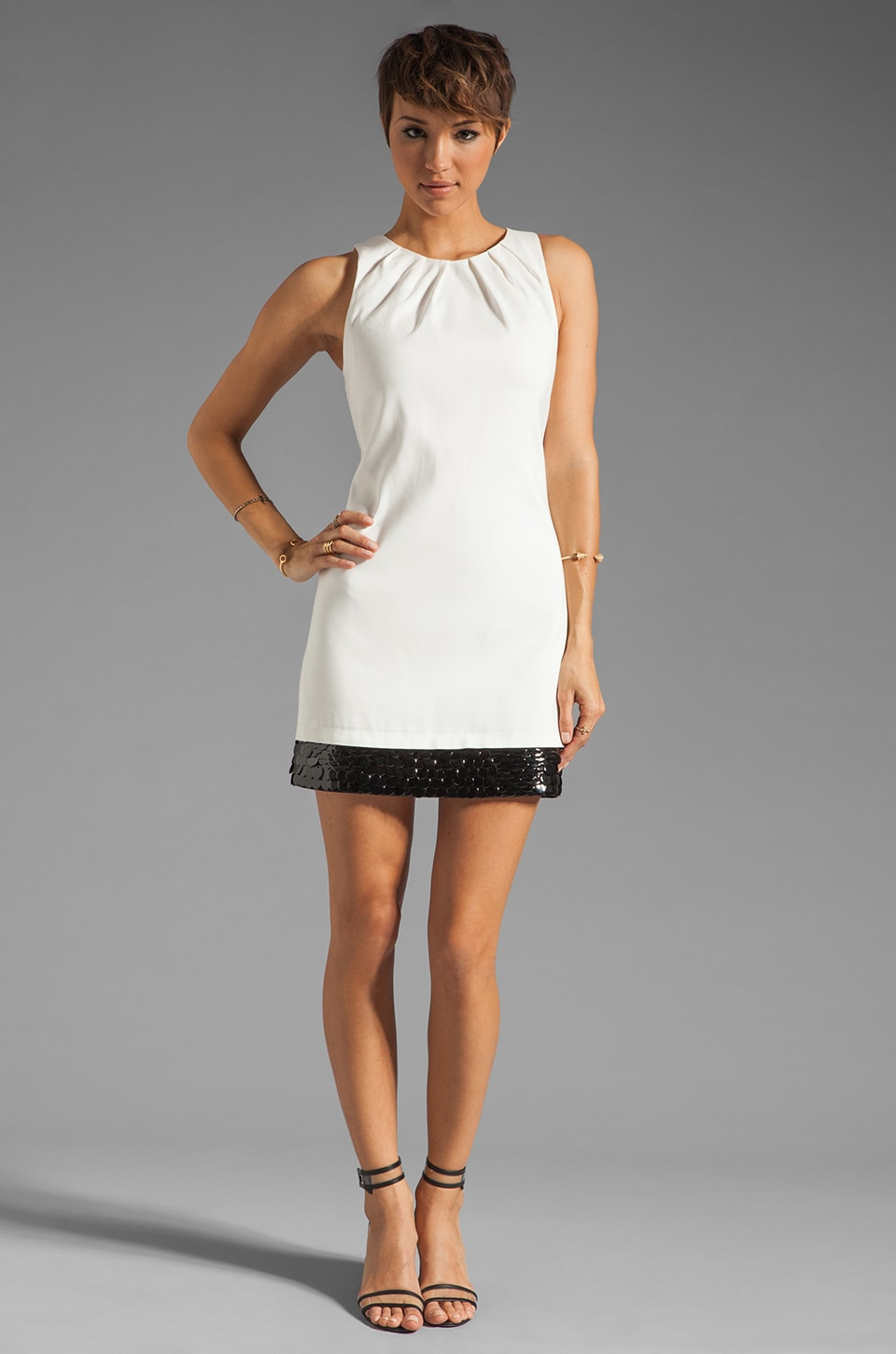 Halston Heritage Sleeveless Embellished Bottom Dress in Bone/Black