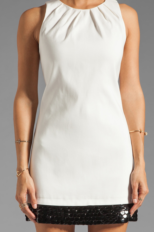 Halston Heritage Sleeveless Embellished Bottom Dress in Bone/Black
