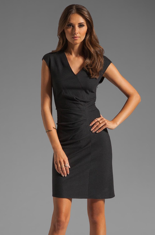 Halston Heritage Cap Sleeve V-neck Wrap Wool Dress in Coal
