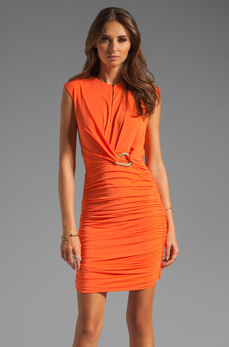 Halston Heritage Sleeveless Mock neck Dress With Front Slit in Flame