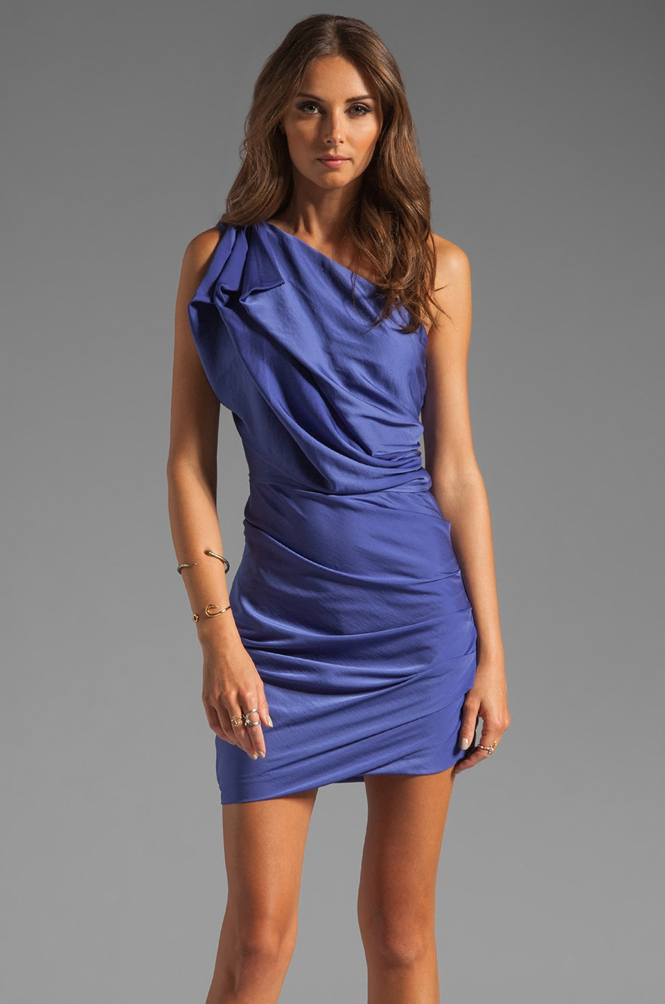Halston Heritage One Shoulder Dress With Asymmetrical Hem in Violet