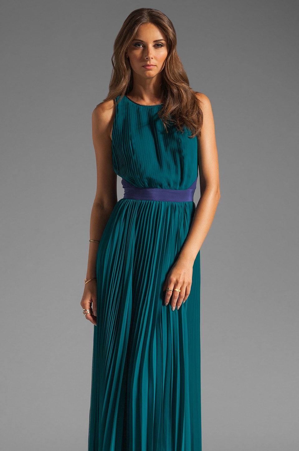 Halston Heritage Sunburst Pleated Chiffon Gown in Atlantic/Astral Blue