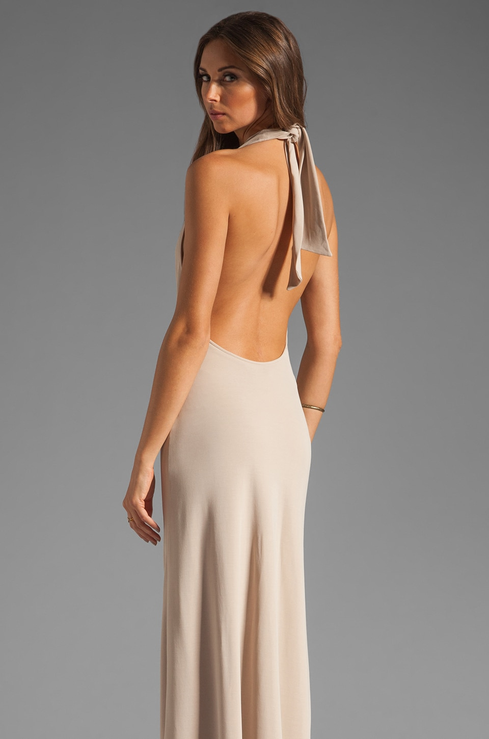 Halston Heritage Halter Neck Gown in Silk Rain