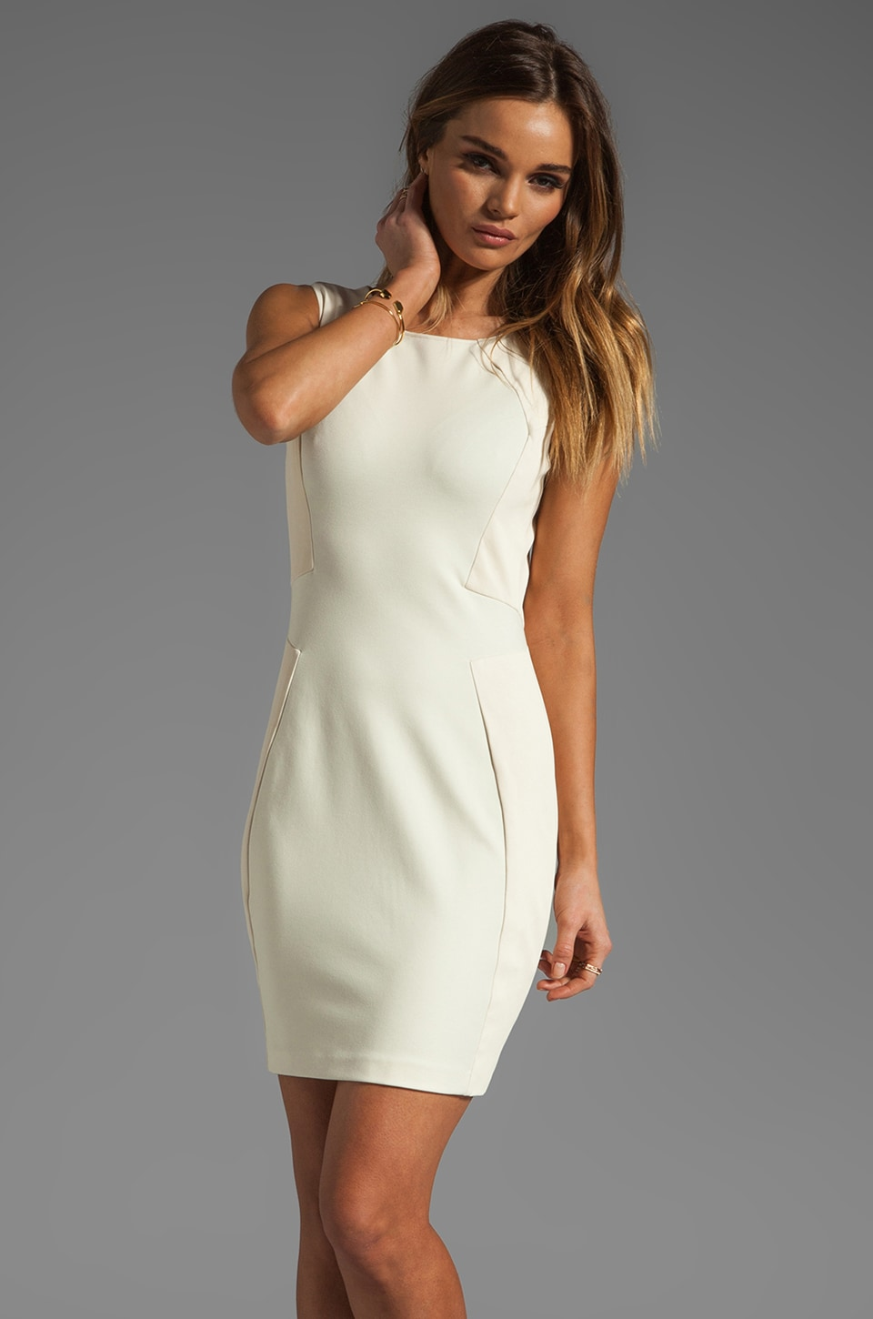 Halston Heritage Sleeveless Dress with Leather Trim Detail in Cream