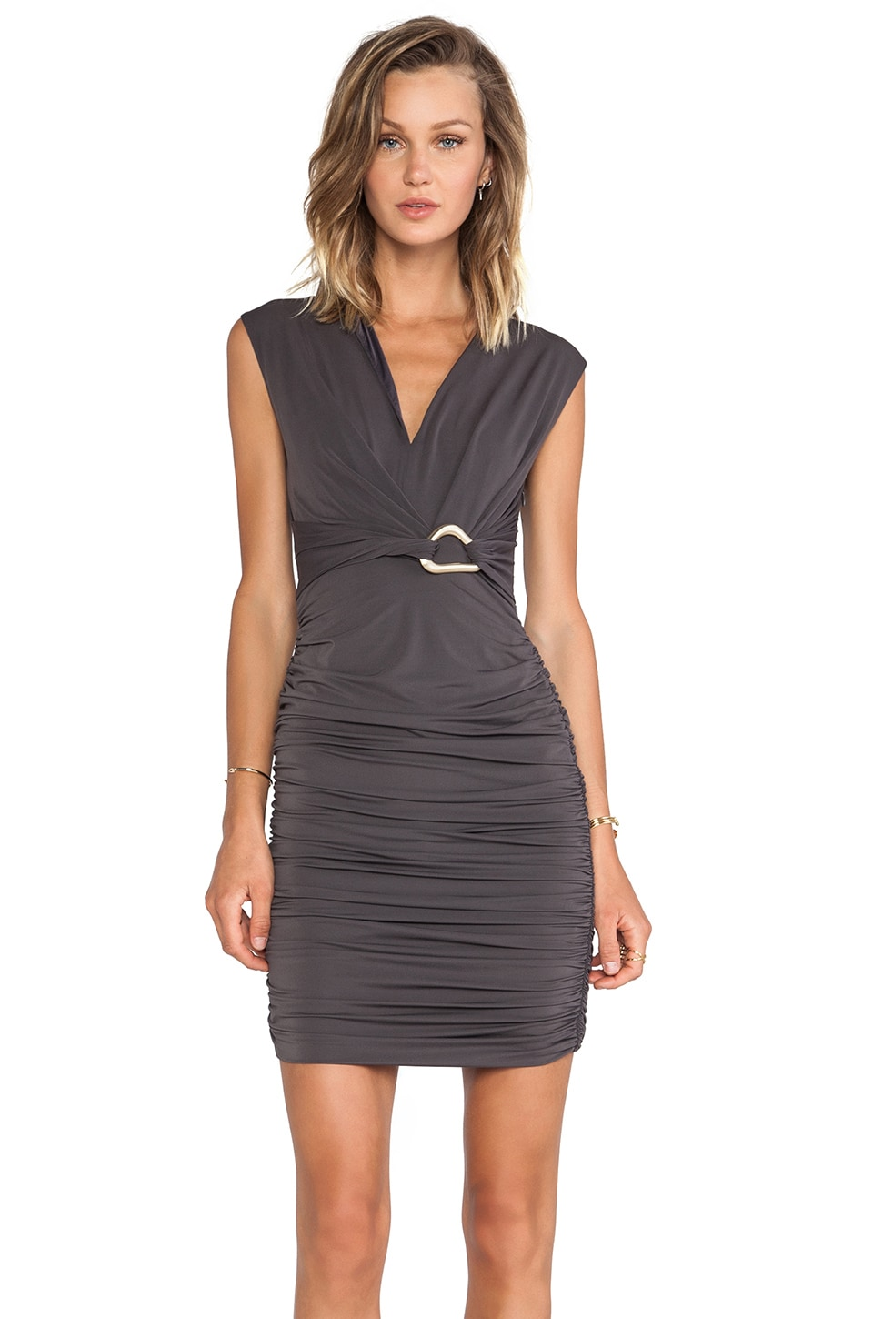 Halston Heritage Mockneck Dress with Front Slit in Lead