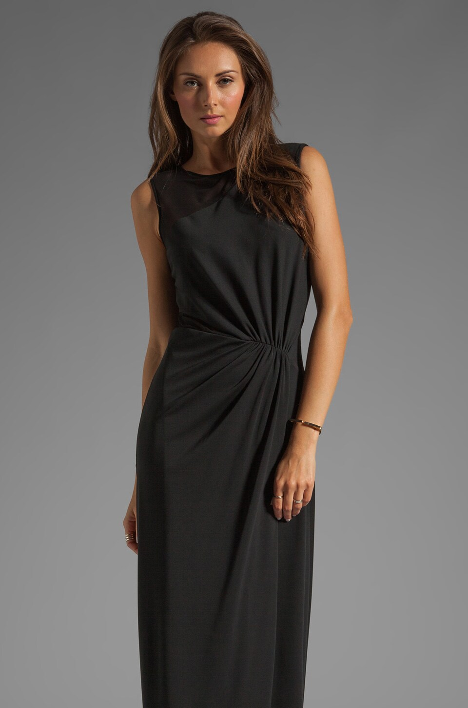 Halston Heritage Cheer Contrast Gown in Black