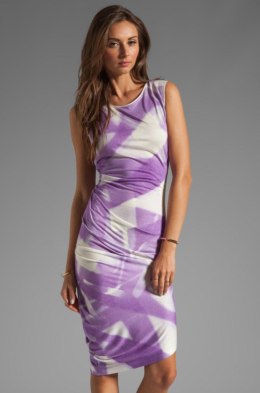 Halston Heritage Asymmetrical Hem Crewneck Dress in Hyacinth