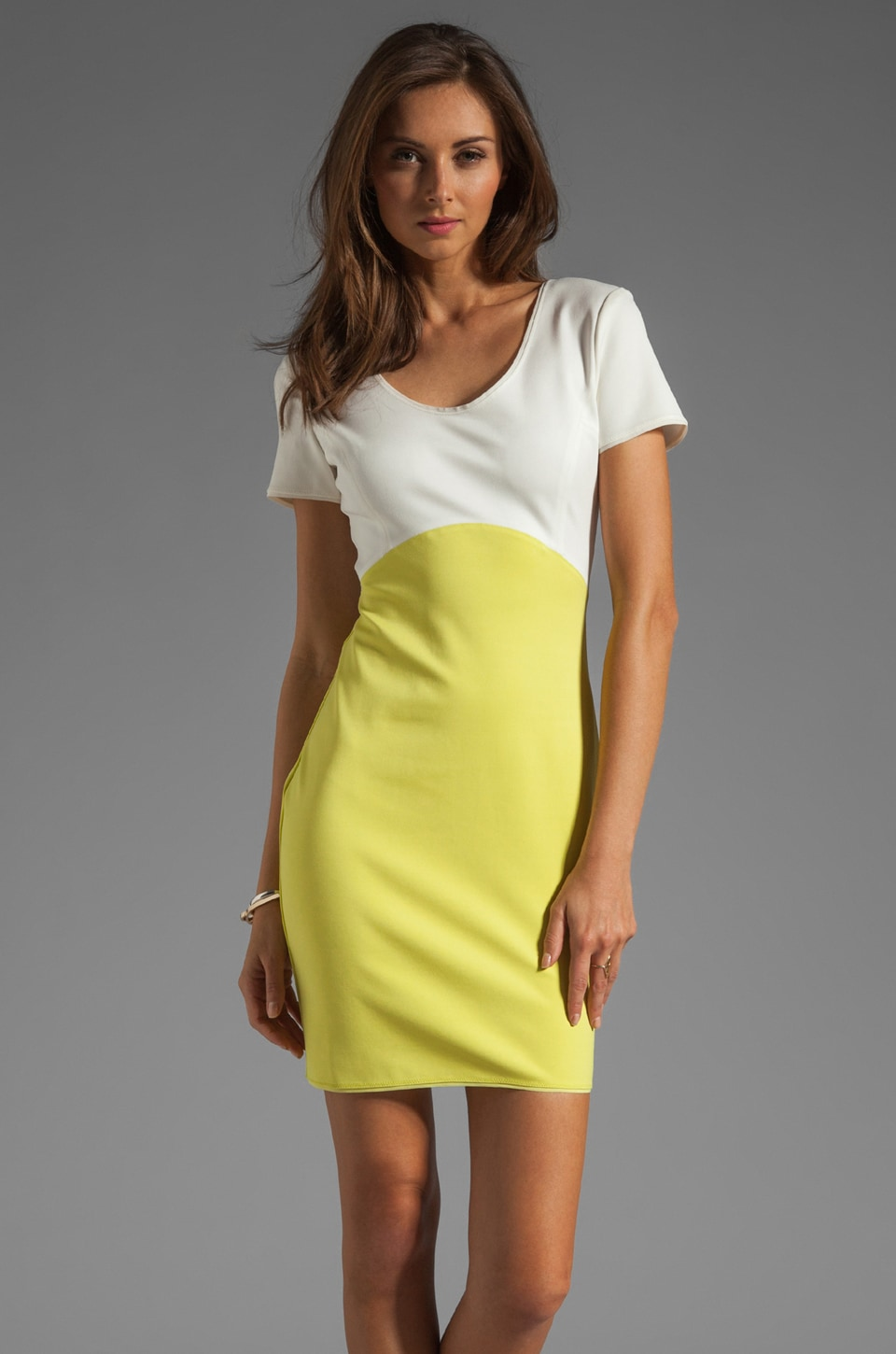 Halston Heritage Short Sleeve Colorblock Ponte Dress in Off-White/Lemonade