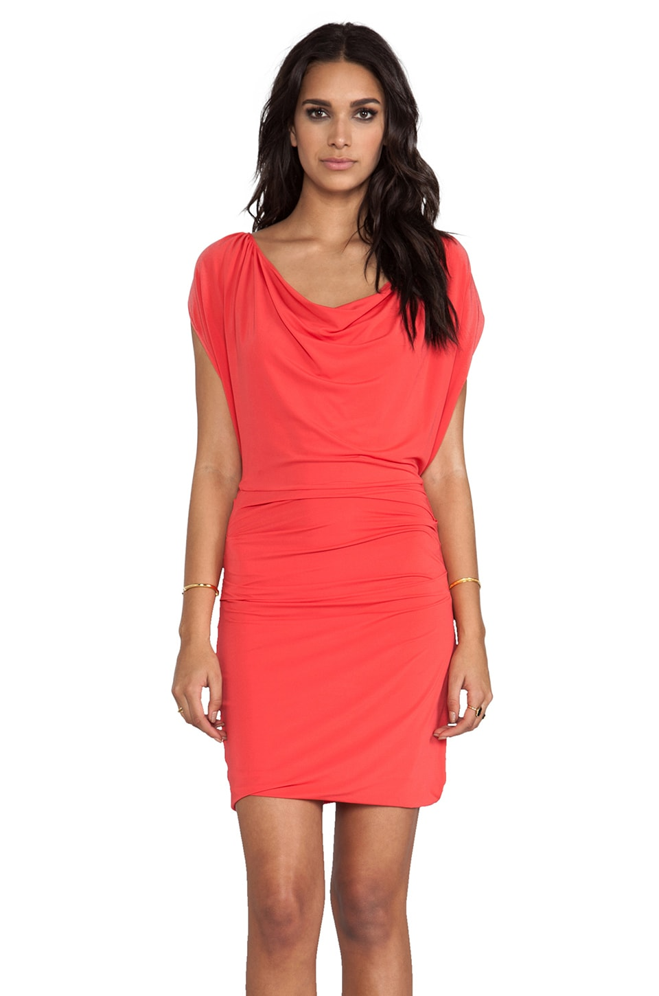 Halston Heritage Cap Sleeve Overlay Dress With Draped Waist in Poppy