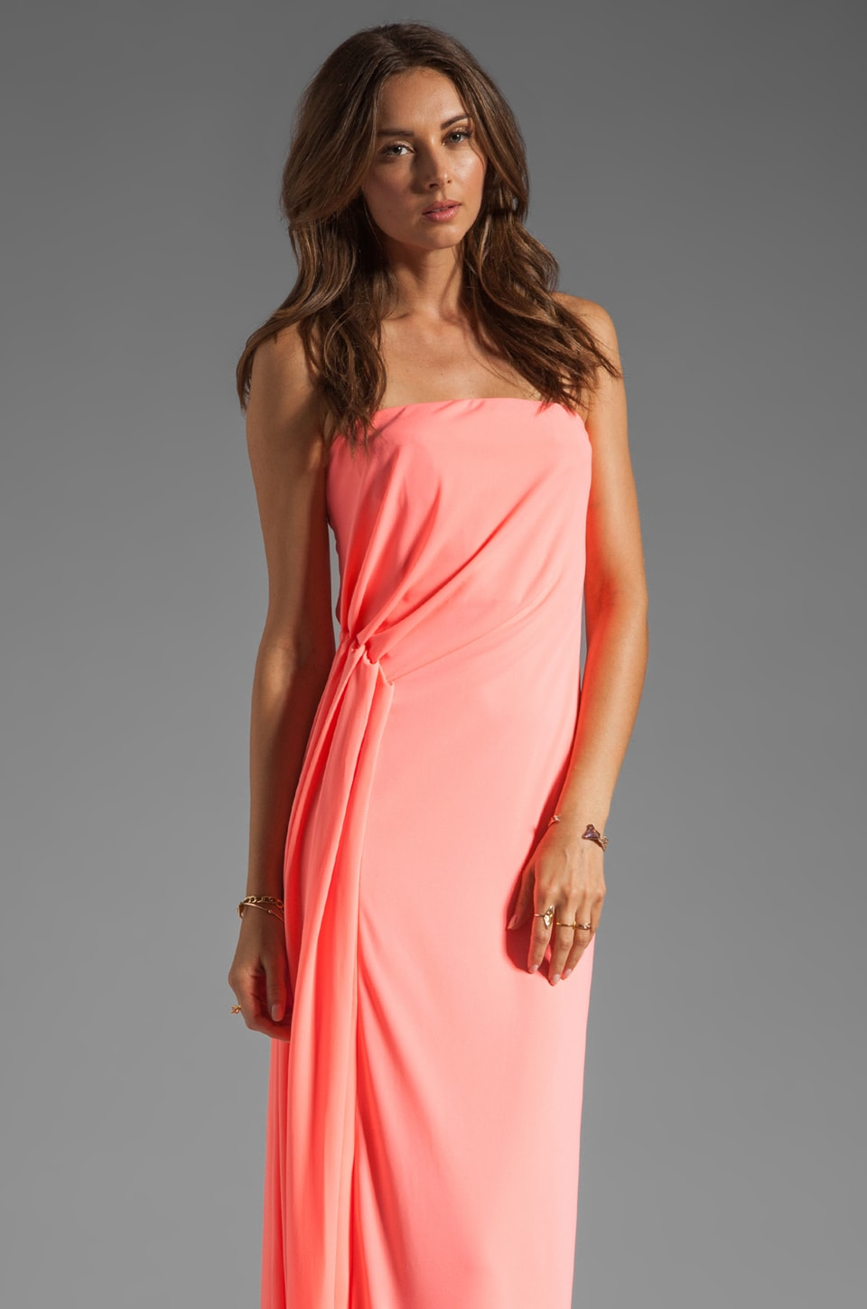 Halston Heritage Strapless Ruched Side Gown in Bright Guava