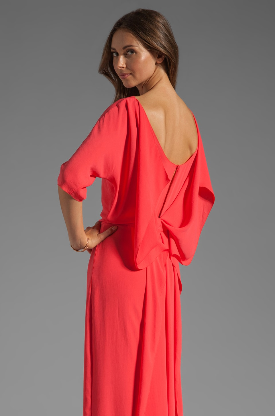 Halston Heritage Draped Back Gown in Poppy