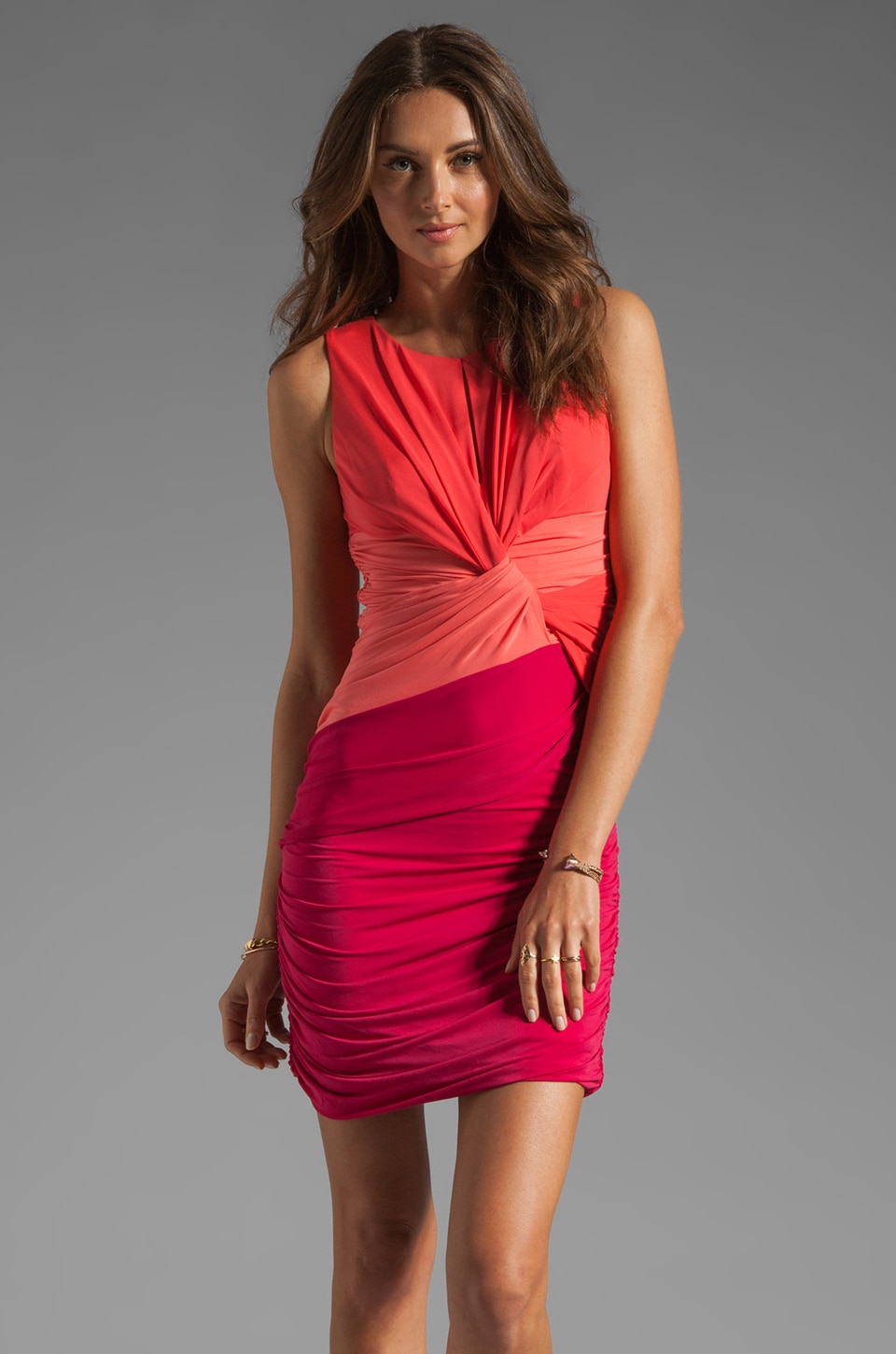 Halston Heritage Colorblock Twist Dress in Poppy/Guava/Raspberry
