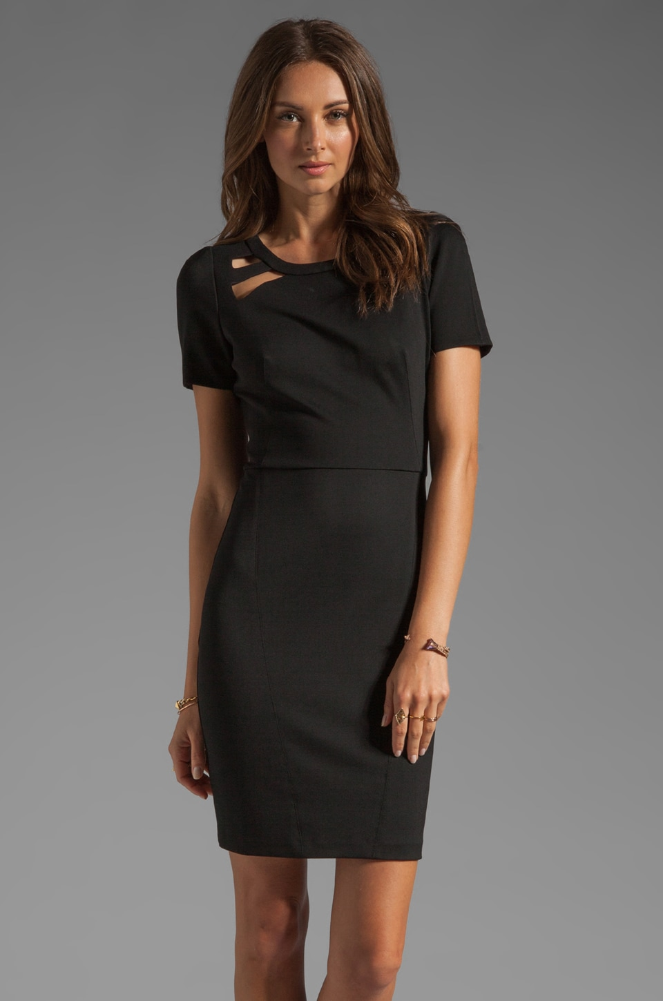 Halston Heritage Short Sleeve Sheath Dress With Shoulder Cut Out in Black