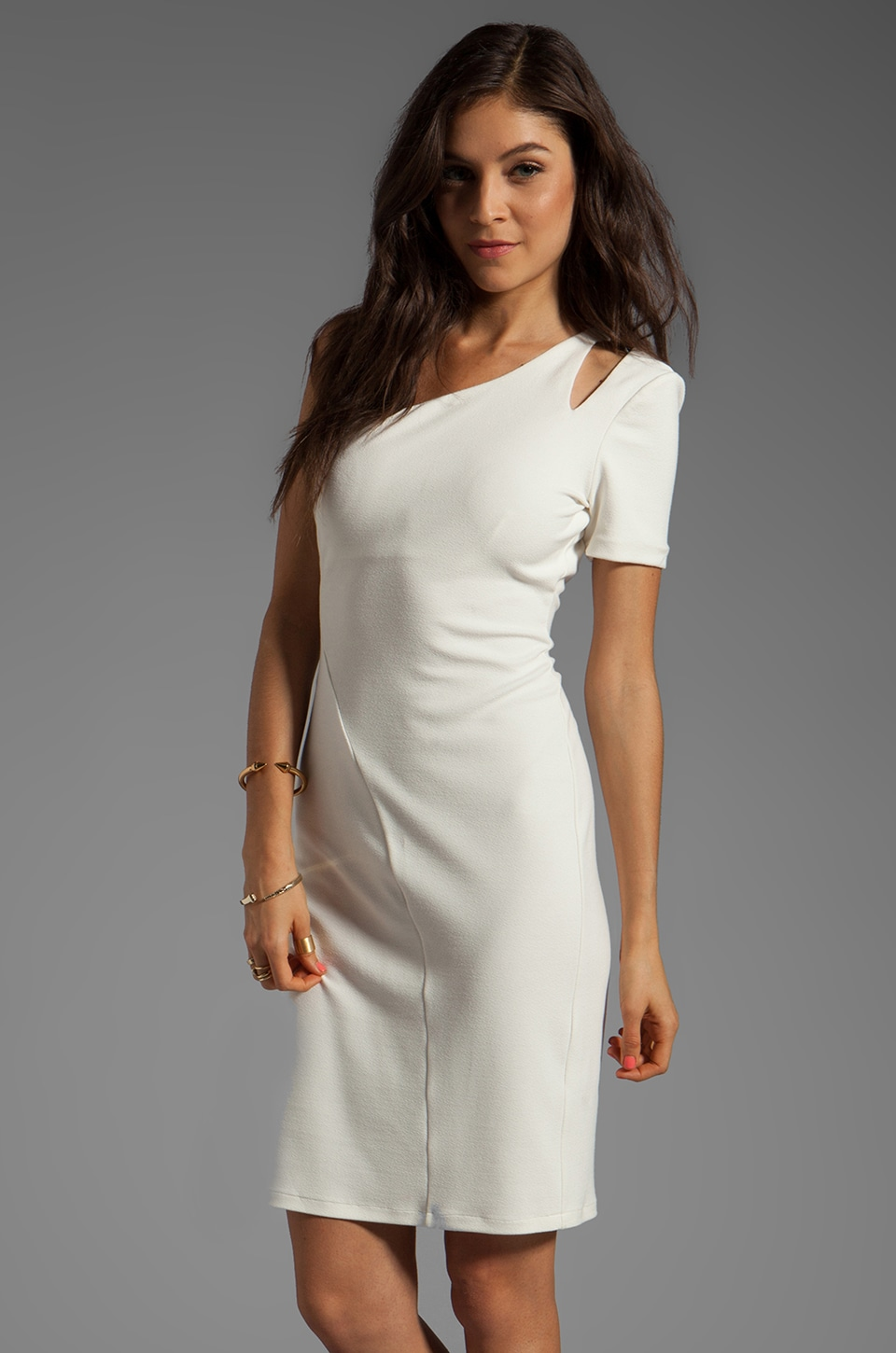 Halston Heritage One Sleeve Dress With Shoulder Cut Out in Off White