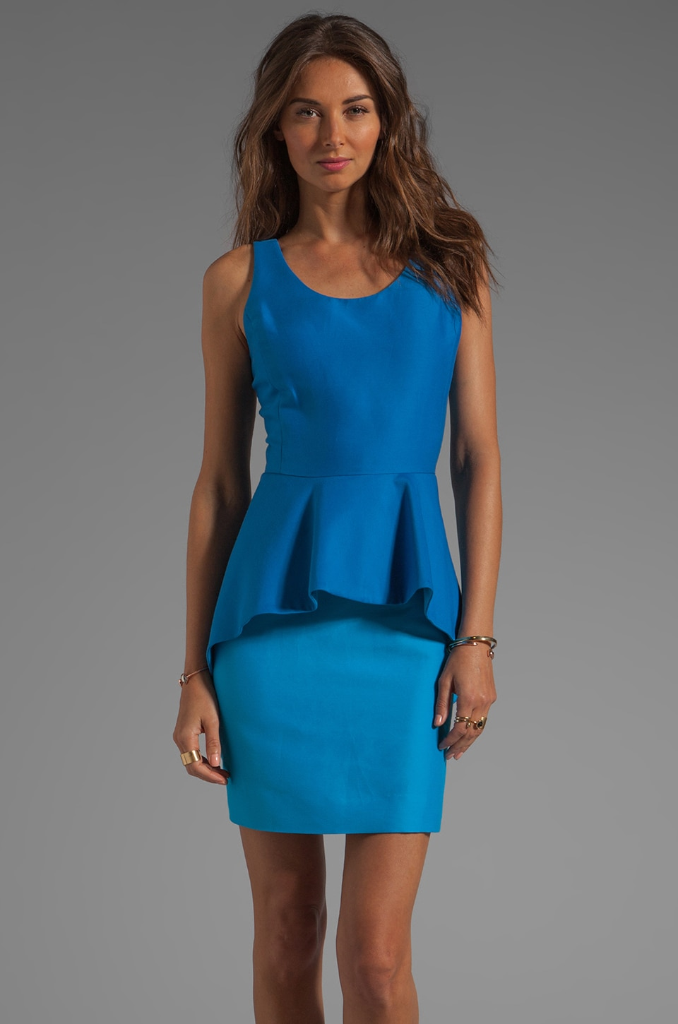 Halston Heritage Colorblock Peplum Sheath Dress in Aquamarine/Lagoon