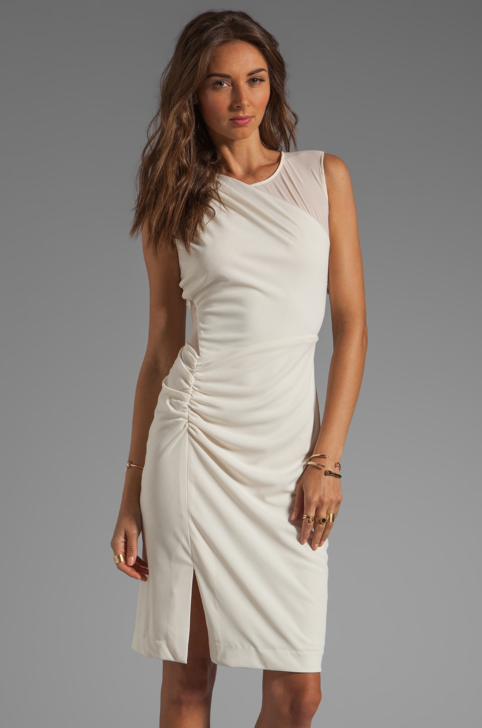 Halston Heritage Sleeve Dress With Sheer Contrast and Side Leg Slit in Cream