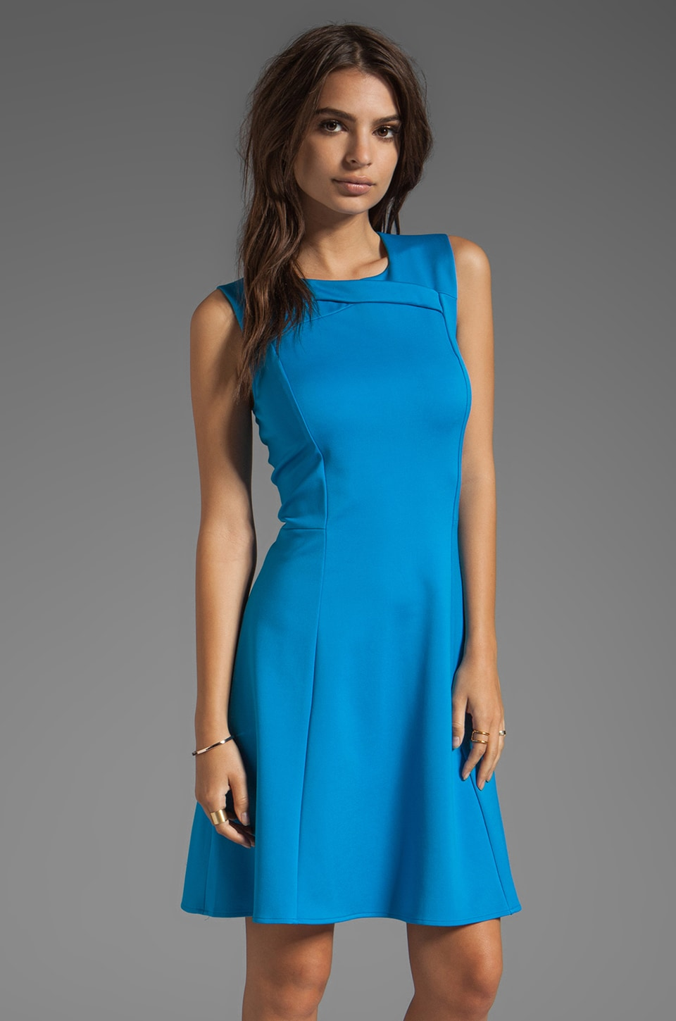 Halston Heritage Detail Ponte Dress in Lagoon